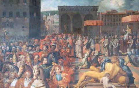 papa Leone X visita Firenze nel 1514