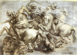 battaglia di Anghiari-da Leonardo-disegno di Rubens