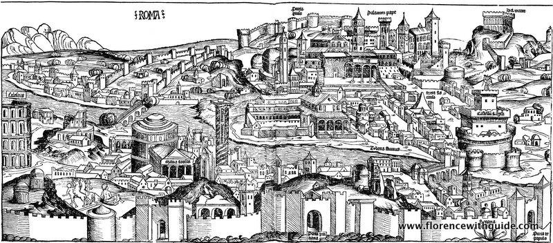 Вид Рима - гравюра 1493