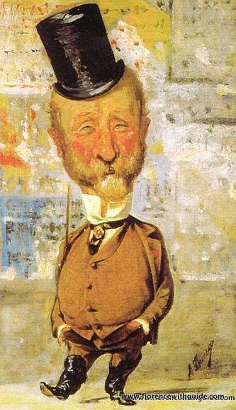 Carlo Collodi- caricatura di Angiolo Tricca- 1875