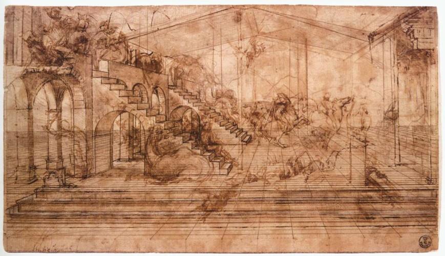 Леонардо Поклонение Волхвов рисунок