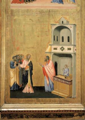 Trittico di San Matteo: 'La chiamata di San Matteo'. Il Santo abbandona il banco da gabelliere per seguire il Cristo