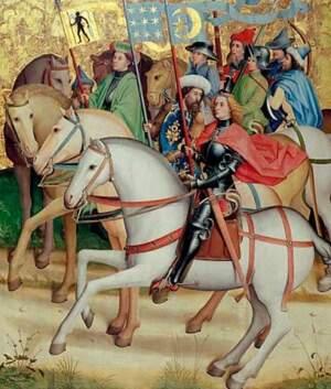Die königlichen Reiter mit ihren Flaggen
